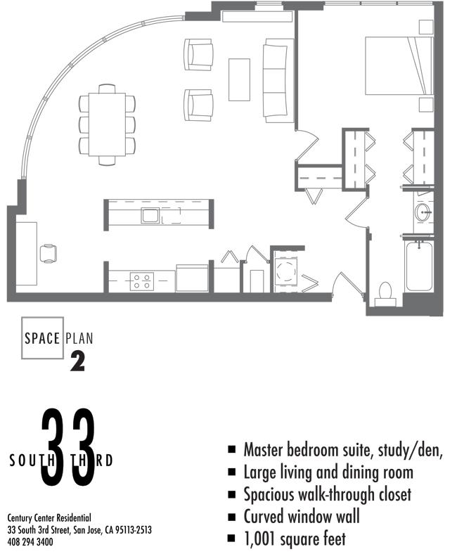 Floor Plan 2. 1 Bedroom 1 Bath   1,001 Square Feet