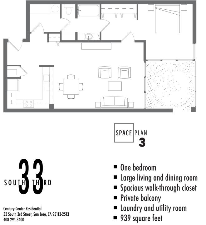 Floor Plan 3. 1 Bedroom 1 Bath   939 Square Feet