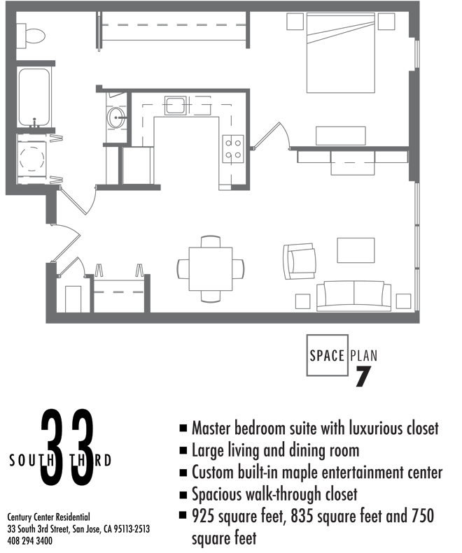 Floor Plan 7. 1 Bedroom 1 Bath   3 available  Square Feet sizes