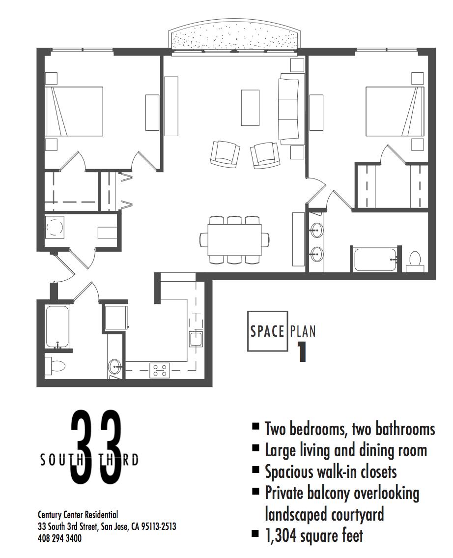 Floor Plan 1. 2 Bedroom 2 Bath   1,304 Square Feet