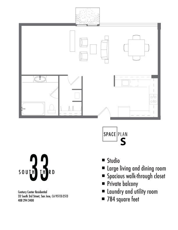 Floor Plan for Studio. 784 Square Feet